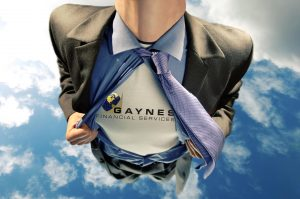 Image of businessman flying with company as chest symbol | Gaynes Financial Services