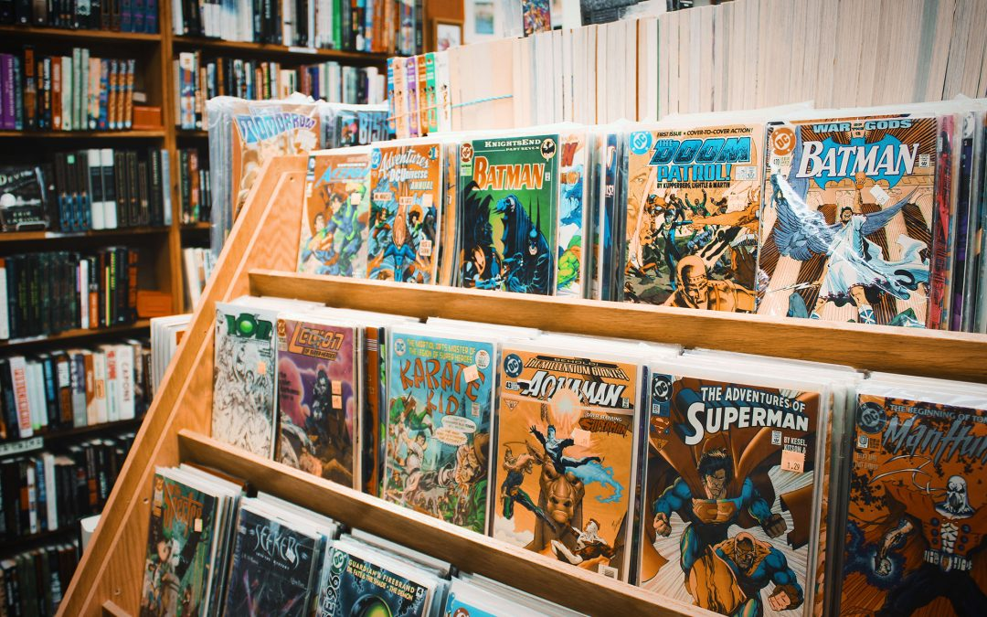 Rack of comics in a book store